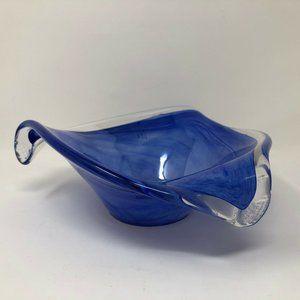 Blue Swirl Triangle Lavorazione Arte MURANO Glass